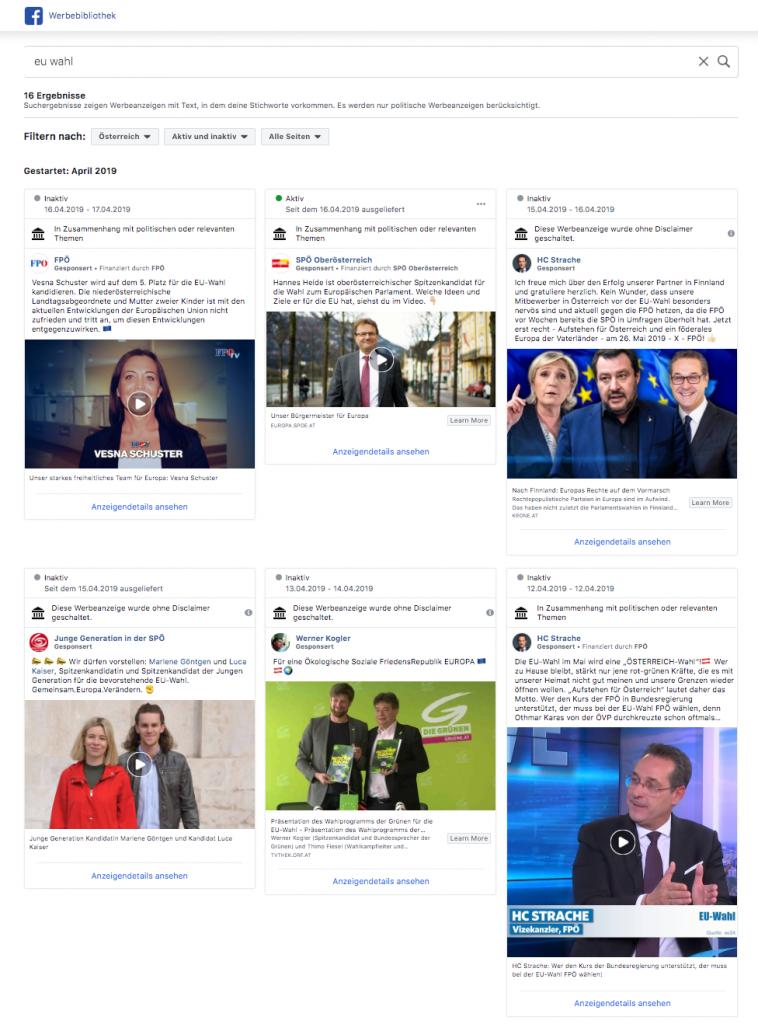 Politische Werbung und Werbebibliothek auf Facebook